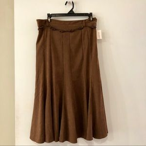 Dress Barn brown suede flare skirt 8